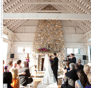 A glittery gold aisle runner added a little glam to the chapel's weathered-wood and stone interior.