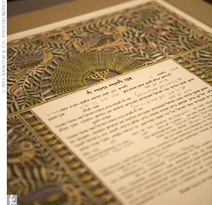 The couple signed a traditional Jewish ketubah before the ceremony.