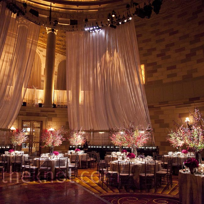Dramatic draping, warm uplighting and a mix of 