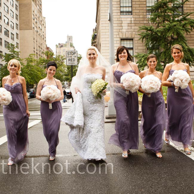 The bridesmaids wore 