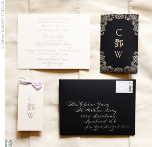 White calligraphy popped on the navy envelopes of the invitations.