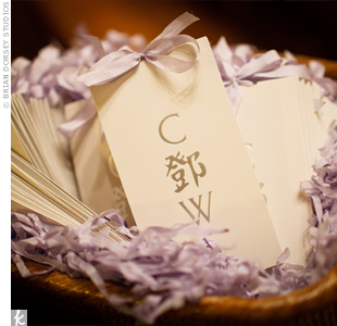Lavender ribbon finished the couples traditional programs, which had their monogram, C Deng W (their last name is in Chinese), on the cover.