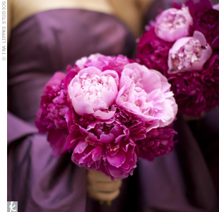The bridesmaids held 