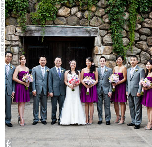 The bridesmaids wore purple chiffon dresses with ruching on the bodice, 