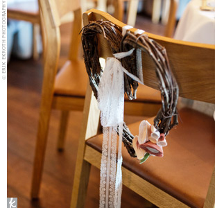 Minhee's chair at dinner was decorated with grape vines formed in the shape of a heart and finished with felt flowers.