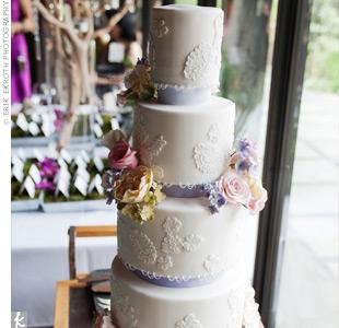 White Lace Fondant Cake