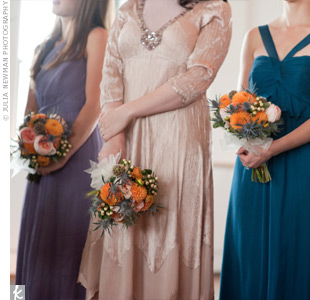 Instead of one color or style, the bridesmaids wore various chiffon dresses in complementary hues.