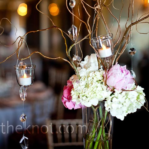 Pink and White Branch Centerpieces
