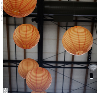 Vivid paper lanterns were hung from the exposed beams and wires of The Depot, adding a pop of color to the space.