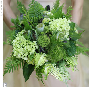 Various ferns and grasses were mixed with hydrangeas and poppy pods to create the bride's unique green bouquet.
