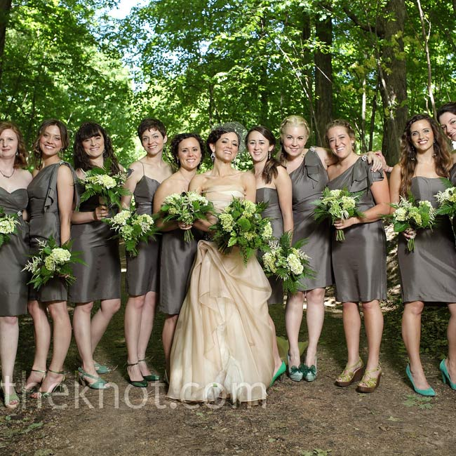 At Mary's request, the bridesmaids accented their slate gray dresses with 