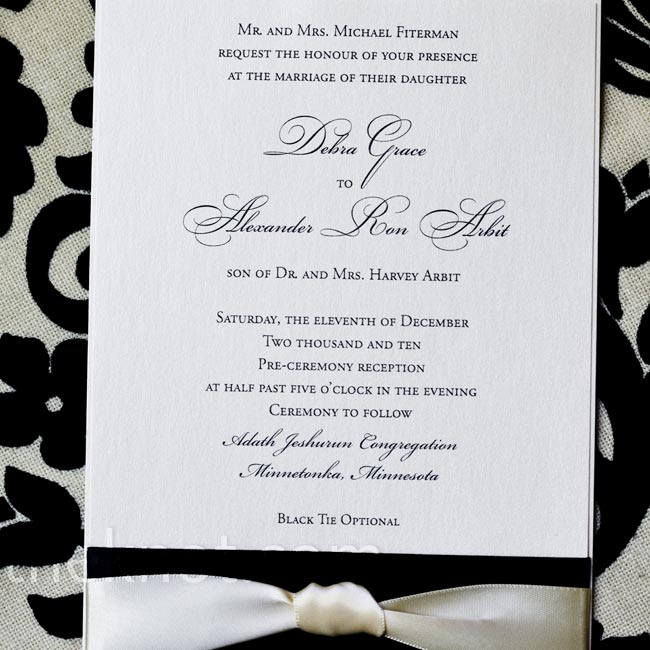 Classic white invitations were accented with a 