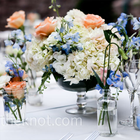 White, Blue and Peach Centerpieces