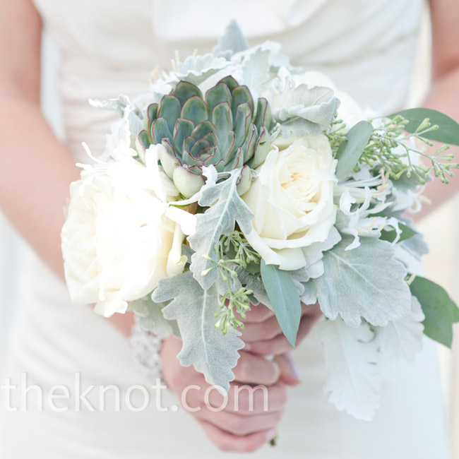 The only flower Jennifer asked for was succulents. The florist filled them in with dusty miller and roses for some extra texture.