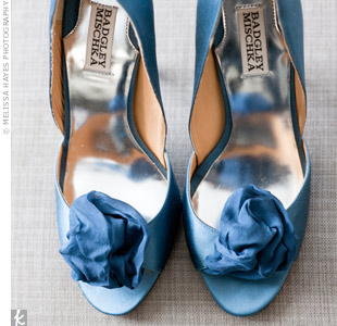 These dOrsay heels with sweet rosettes were Jennifers something blue.