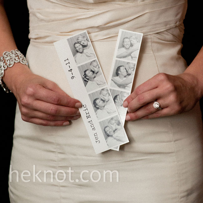 The couple rented a vintage photo booth that printed photo strips for guests to take home as favors.