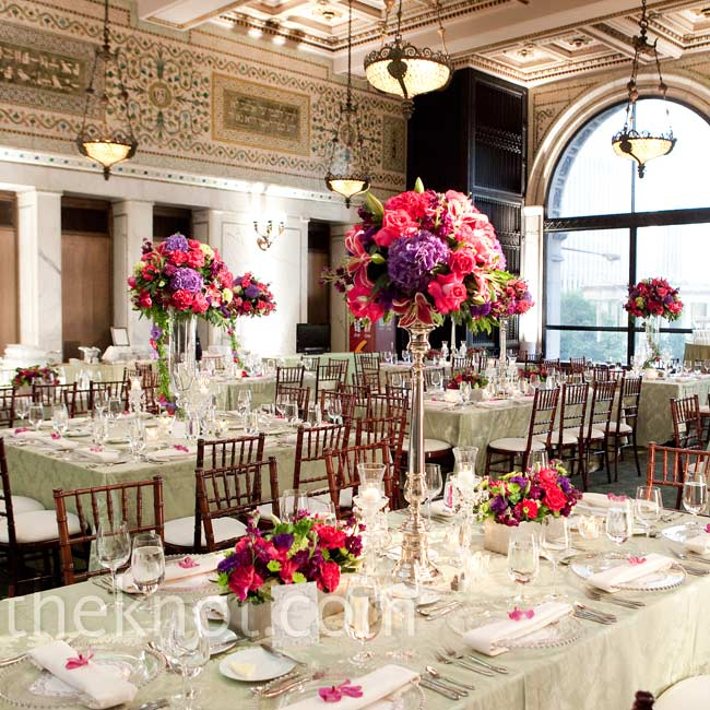 Mary Kate chose bright flowers that wouldn't get lost against the historical, ornate reception venue.