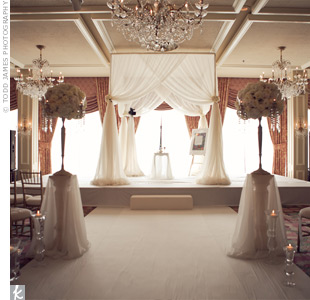 White Drapped Indoor Huppah