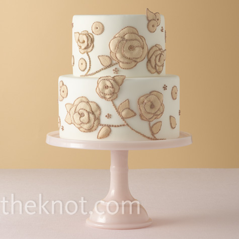 Gold Embroidery Wedding Cake