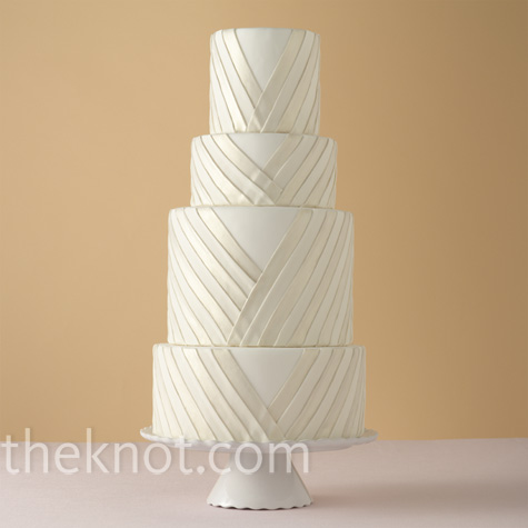 White Pleated Wedding Cake