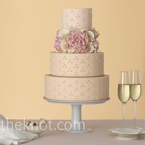 Pink Eyelet Wedding Cake