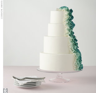 Modern Green Ruffle Cake