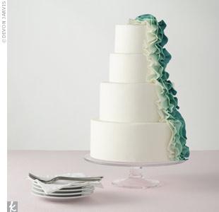 Modern Green Ruffle Cake
