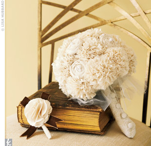 This fabric bouquet is a wedding keepsake with fashion-inspired accents of tulle, buttons and lace.