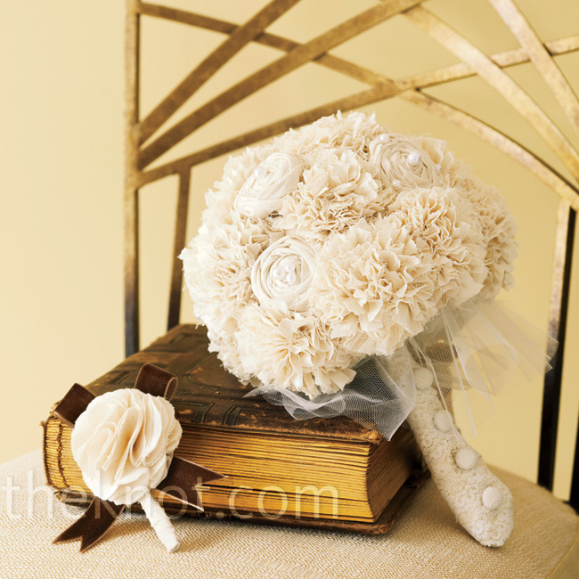 This fabric bouquet is a wedding keepsake with fashion-inspired accents of tulle, buttons and lace.  Bouquet and boutonniere by AutumnArt, Etsy.com