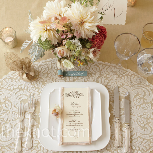 Modern dinnerware and a playful stool place card keep the lace placemat from feeling fussy.  Calligraphy by Paperfinger, Paperfinger.com; flowers by Saipua, Saipua.com