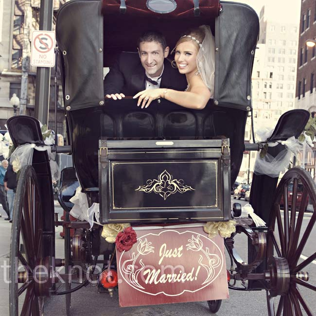 Ali's parents surprised the couple with a horse-drawn carriage ride through downtown Detroit-a childhood fantasy of hers.