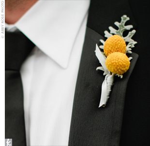 Yellow craspedia and soft dusty miller stood out against Brian's black lapel.