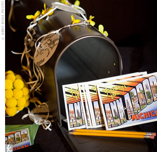 Since neither family is from the area, the couple's Ann Arbor nuptials (home to Annie's alma mater) were actually a destination wedding, so a retro-postcard-and-mailbox display worked well.