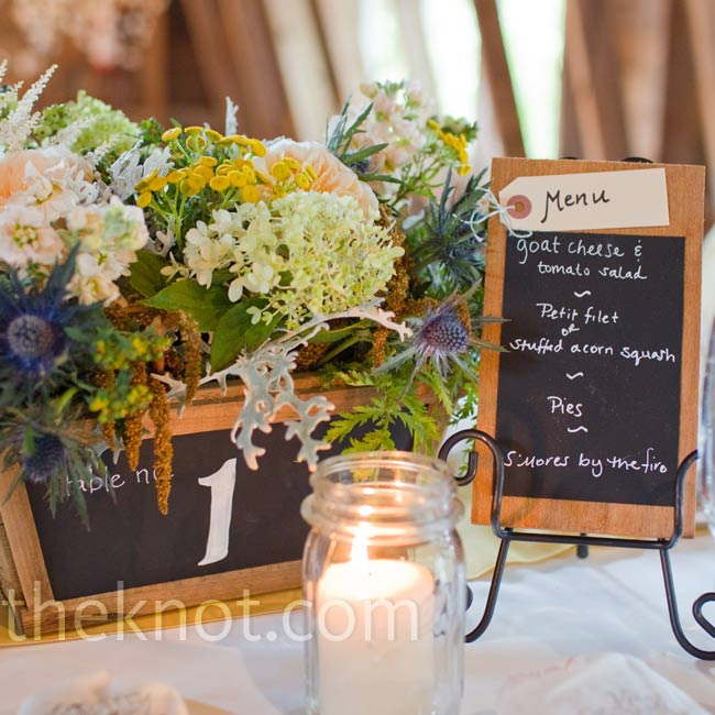 Elise's father made the rustic planters and menus.