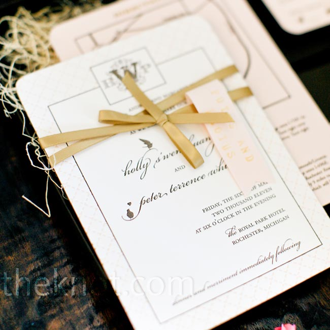 Holly and Peter designed the invitations themselves and commissioned a local printer to letterpress them. The couple then personalized each suite with hand-stamped tags fastened with gold ribbon.