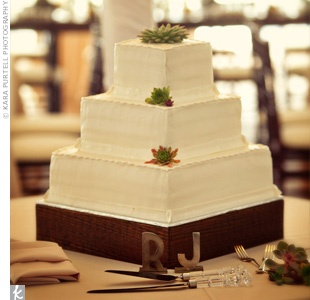 Wanting to keep the cake simple, the couple added just a few mini succulents to the three square tiers.