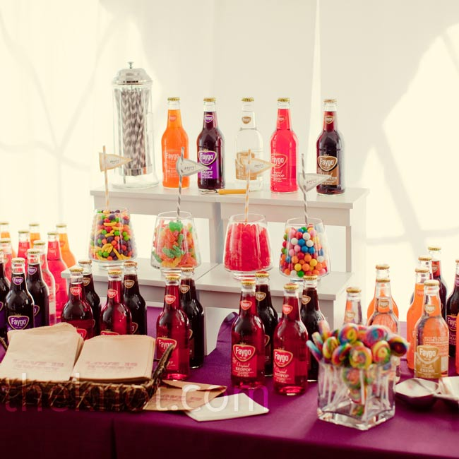 Vintage soda and colorful candy gave guests a boost during dancing.