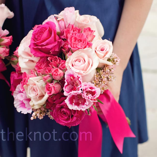 A vibrant ribbon brought out the various shades of pink in the bridesmaid bunches.