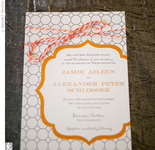 Honeycomb-pattern Wedding Invitations