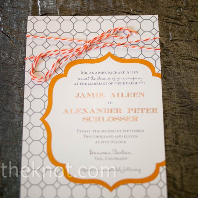 The invitations featured a mix of honeycomb and bracket cutout patterns.