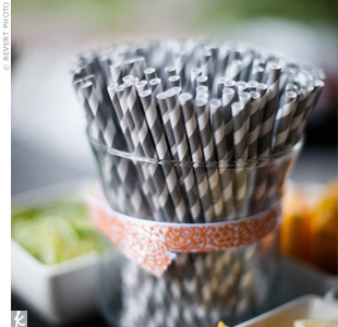 Pin-striped details were an ongoing motif, seen in the drinking straws and twine.