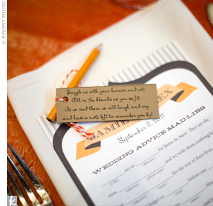 "The couple had guests fill out ""Wedding Advice Mad Libs"" as a fun alternative to the traditional guest book."