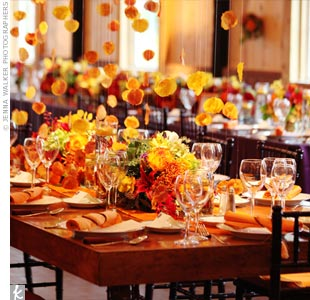 Gold and bronze leaves floated whimsically over the center table.