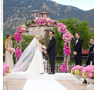 Views of Cheyenne Mountain set the scene for the couple's picturesque nuptials on the Lakeside Terrace.