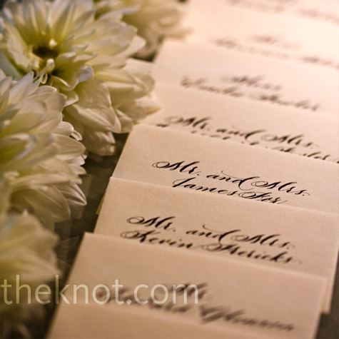 White Dahlia Escort Card Display