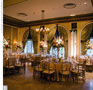 Tables were draped in champagne-hued satin linens, while sweet pink florals created an enchanting garden environment.