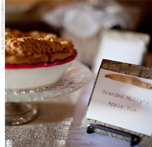 In lieu of a cake, the couple's family members baked pies, which were served with vanilla ans mint-chocolate-chip ice cream.
