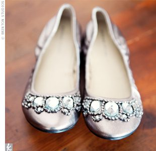 Stacy's metallic jewel-adorned flats struck the perfect balance between comfort and chic style.