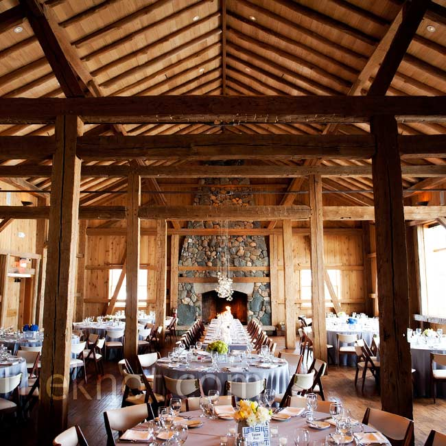 A Civil War-era barn with high ceilings and worn wooden planks created a simple yet unique setting.