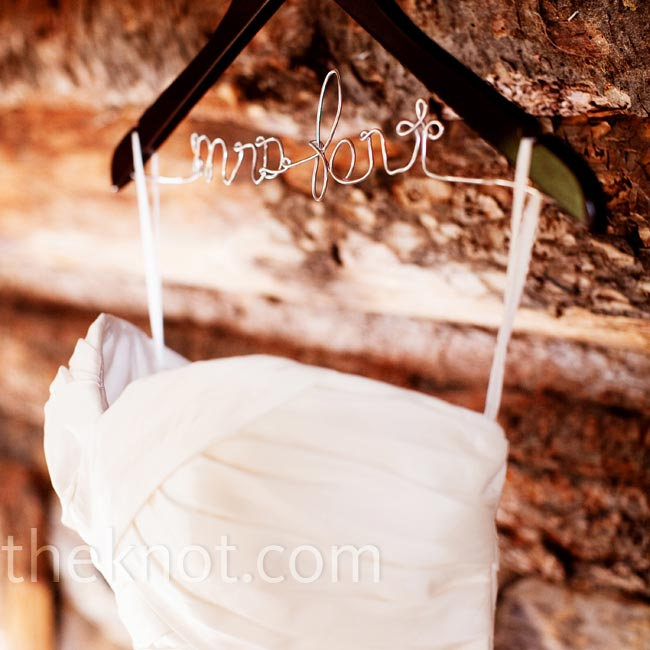 Bahie's strapless dress was hung on a personalized wire hanger that indicated her married-last-name-to-be.